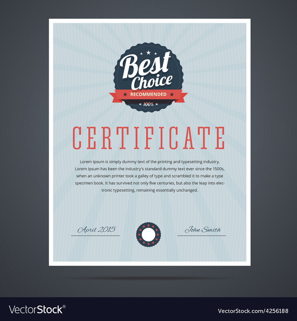 Best choice certificate for product or service vector