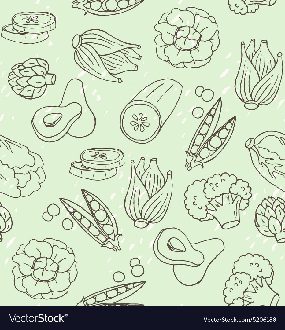 Seamless texture with healthy green food vector