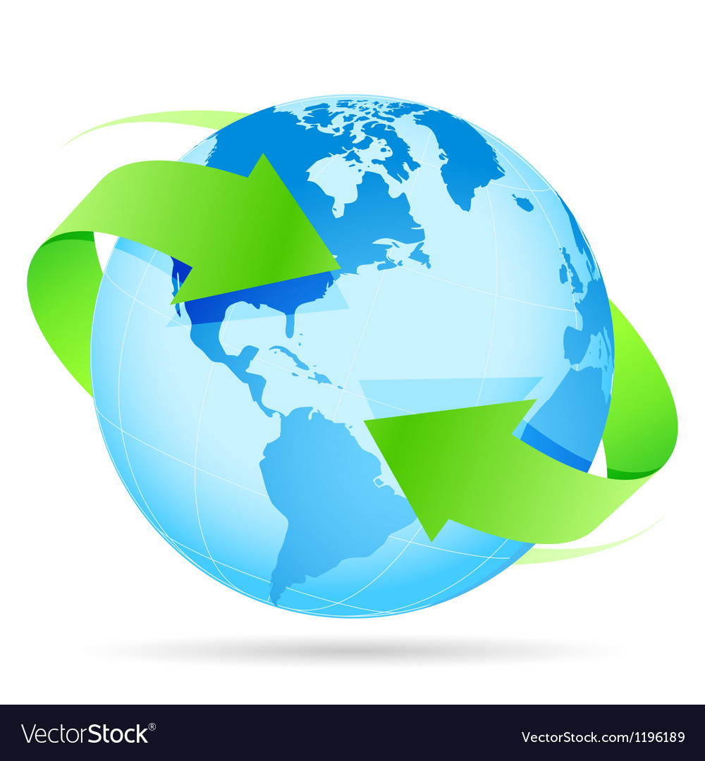 Icon planet earth arrow vector
