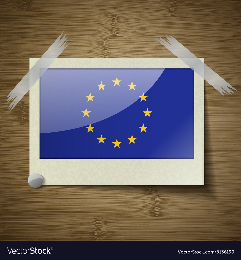 Flags european union at frame on wooden texture vector
