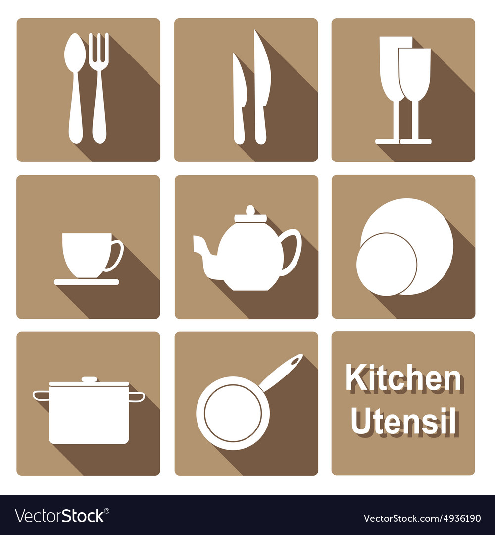 Icons set of kitchen utensil in flat design style vector