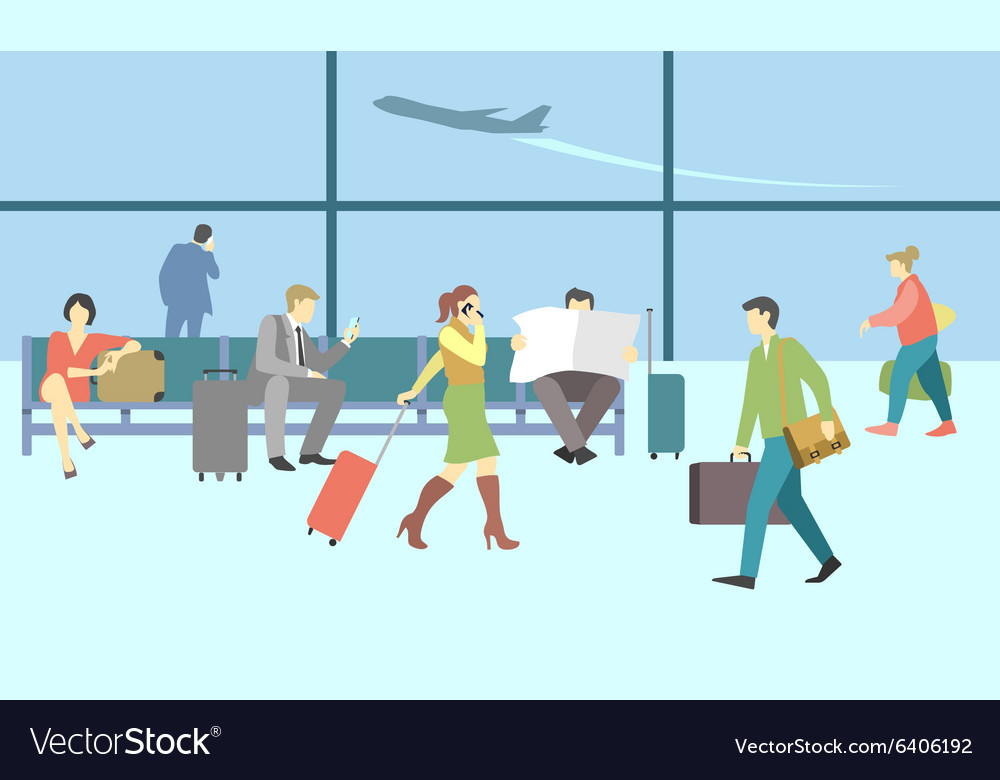 Business people in airport terminal travel vector