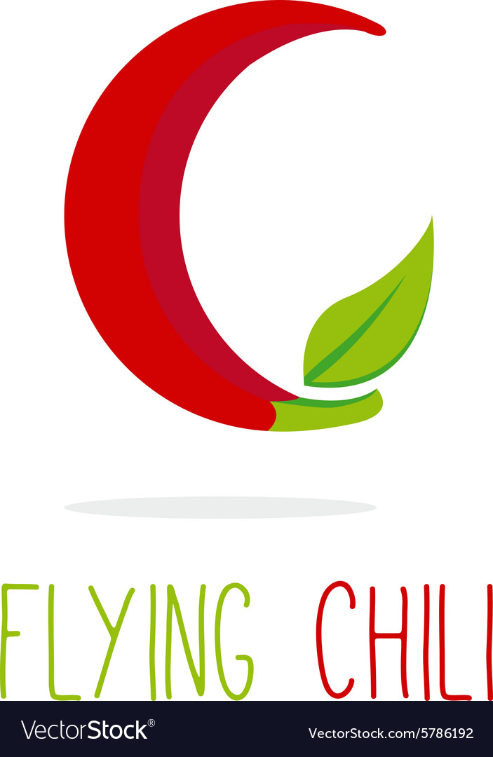 C letter flying chili logotype vector