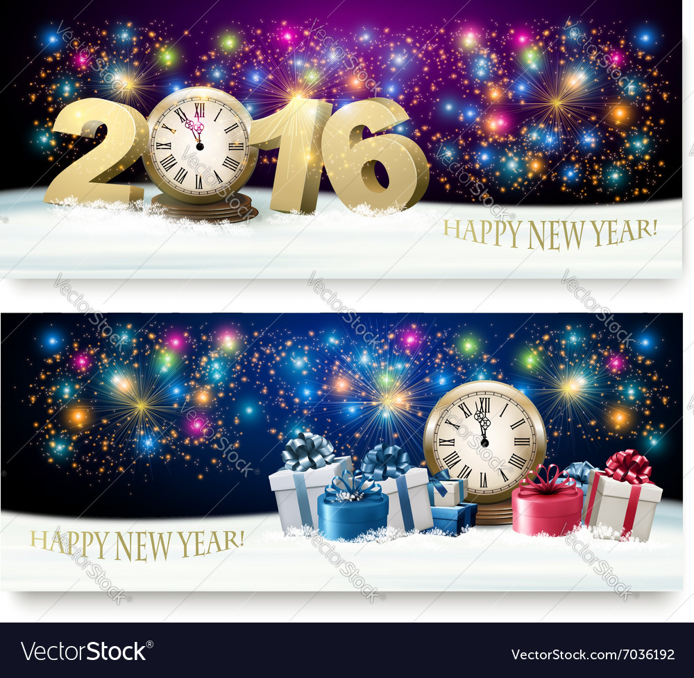Happy new year banners with presents and fireworks vector