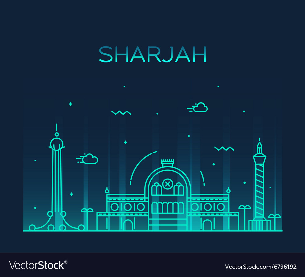 Sharjah skyline linear style vector