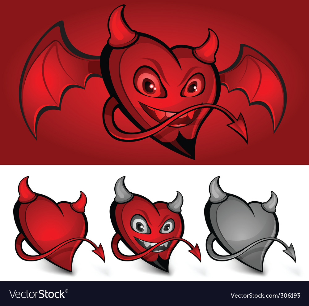 Devil face heart vector