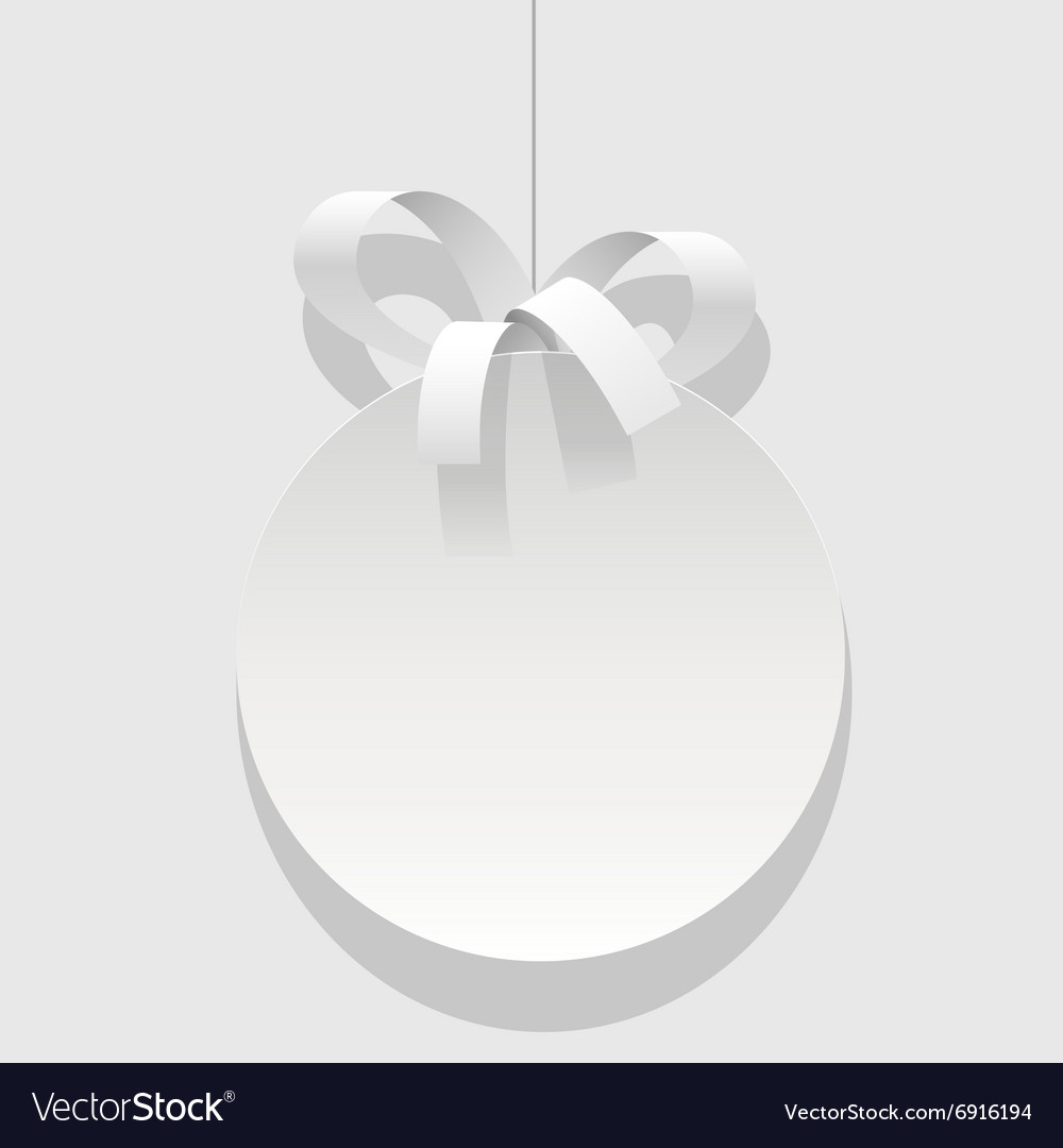 Christmas bauble white ball with a ribbon vector