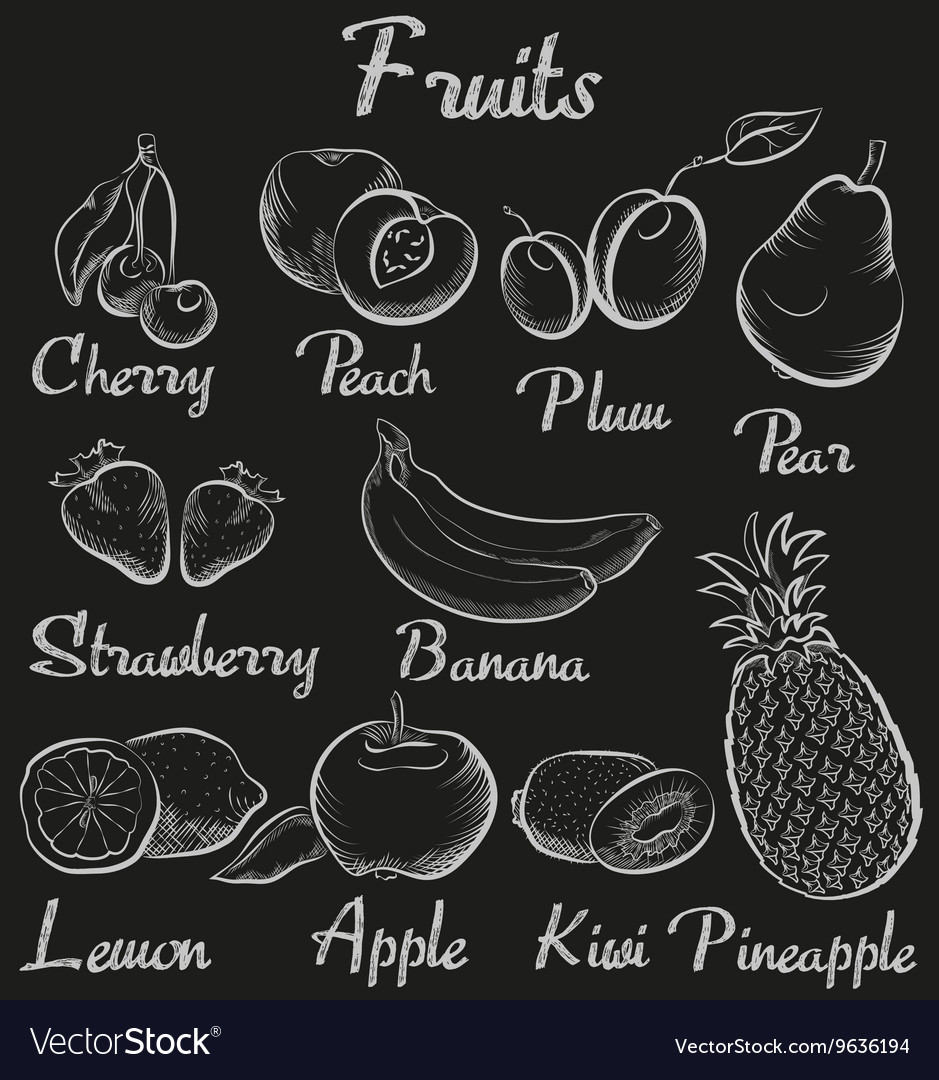 Vintage fruits handdrawn chalk blackboard sketch vector