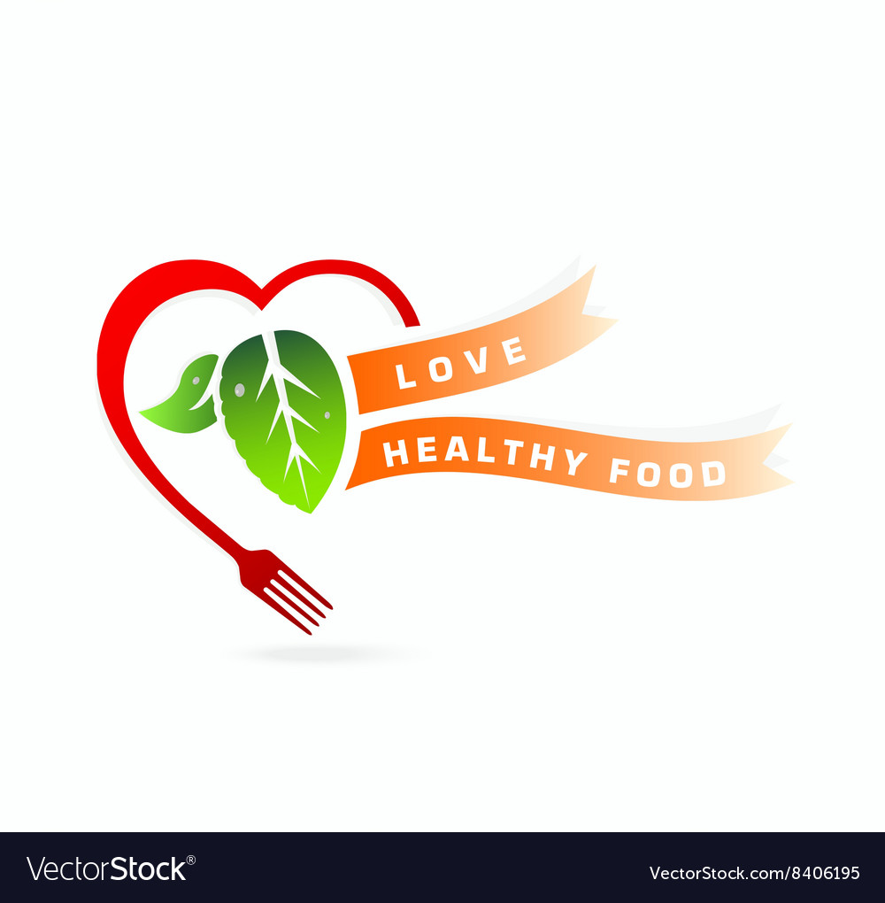 Healthy food love healthy food concept vector