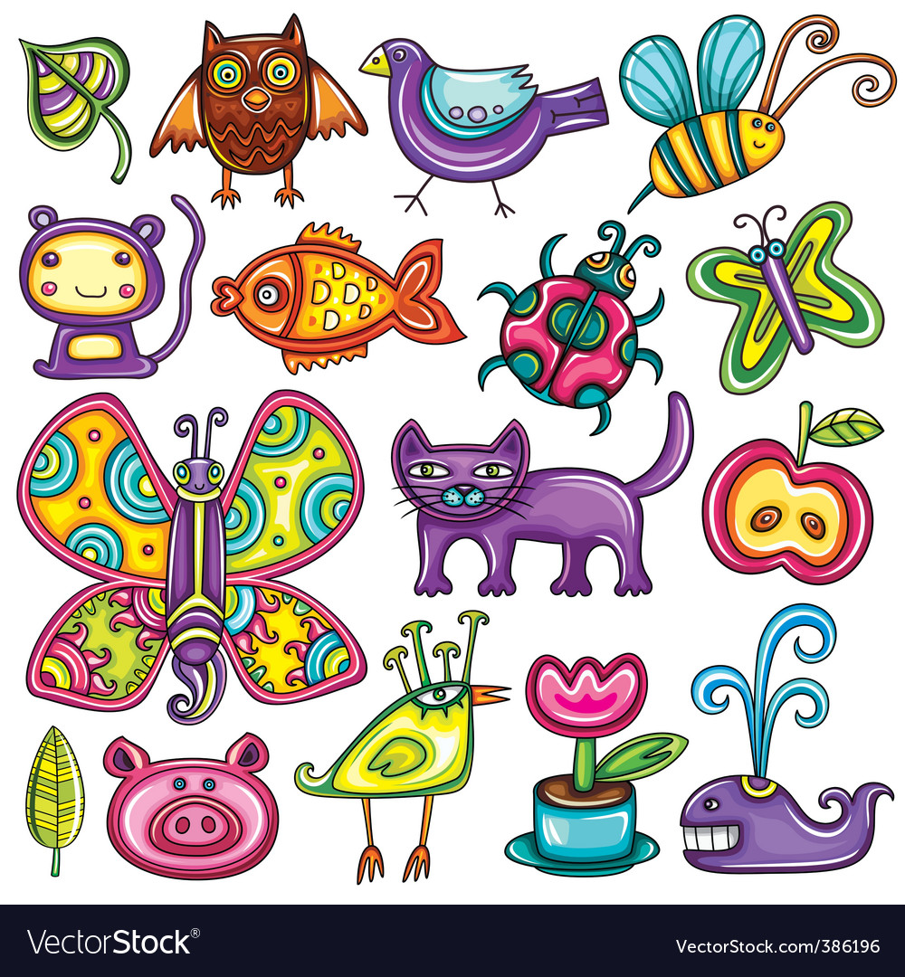 Cartoon flora and fauna set vector