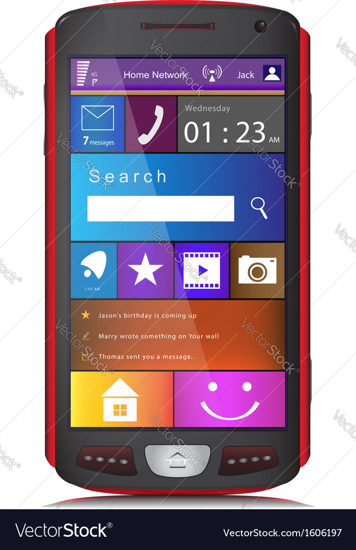 Mobile phone with metro interface vector