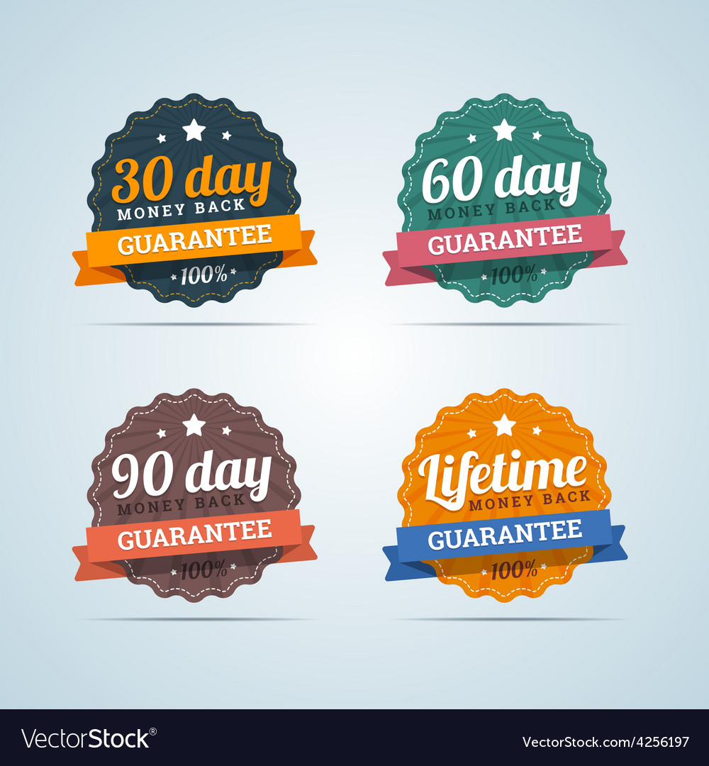 Set of money back guarantee badges in flat style vector