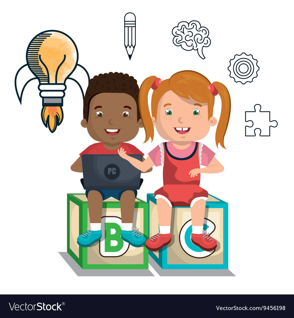 Boy and girl studying online isolated icon design vector