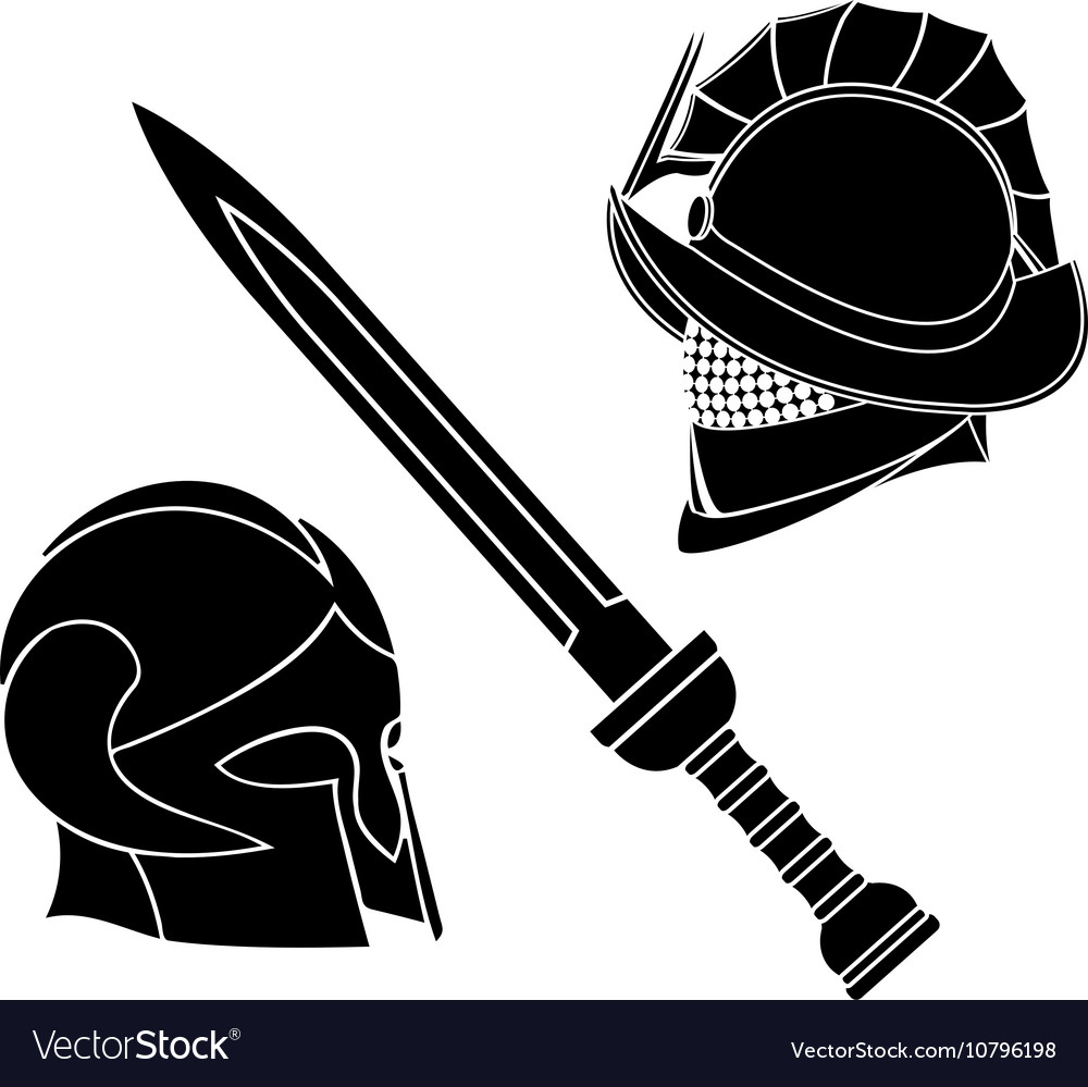 Gladiators helmets and sword vector