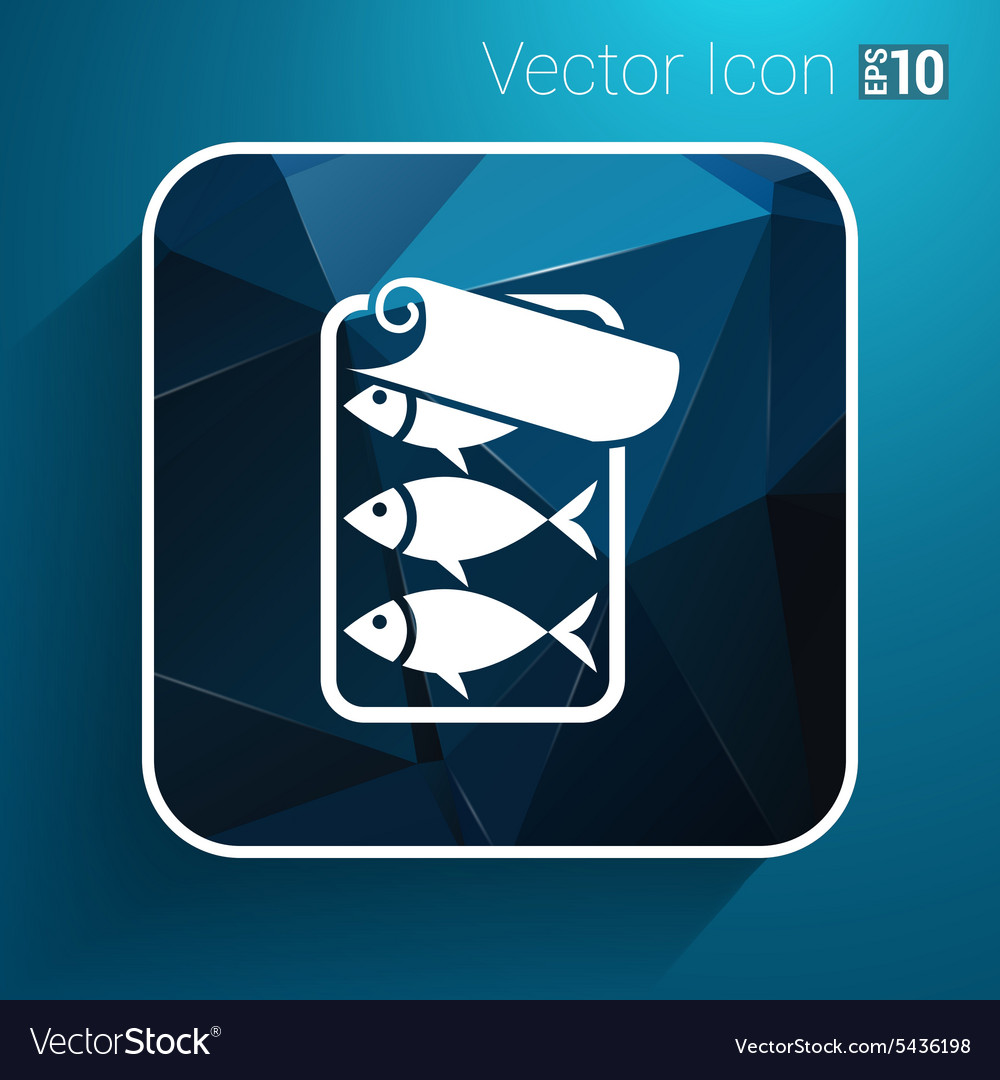 Icon for tin fish can with ring pull vector