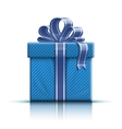 Blue gift box with ribbon and bow vector image