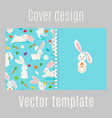 cover design with white rabbits pattern vector image