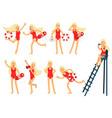 young lifeguard woman character doing her job set vector image
