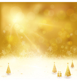 Golden Christmas backgound with Christmas vector image vector image