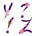 spring alphabet with gentle sakura flowers YZ vector image vector image