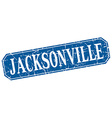 Jacksonville blue square grunge retro style sign vector image