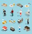 Fast food isometric icons set vector image