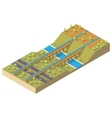 Isometric aqueduct over the river vector image