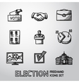 Set of handdrawn ELECTION icons with - vote box vector image