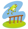 A green frog hopping vector image