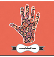 Decorative elements on the handprint vector image vector image