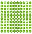 100 help desk icons hexagon green vector image
