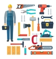 Carpentry Flat Color Icons Set vector image
