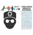 doctor head icon with 1300 medical business icons vector image