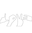 Hand Love Path on the white background vector image