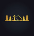 pine tree camp forest gold logo vector image