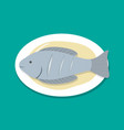 Top view steamed fish on white plate vector image