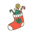Colorful christmas stocking vector image