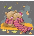 Two bears in a scarf vector image