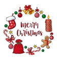 Round frame of traditional Christmas decorations vector image