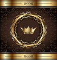 Royal background with golden ornate frame and vector image vector image