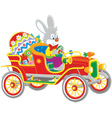 Easter Bunny in its retro car vector image