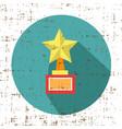 Trophy star winner award retro grunge style icon vector image