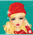 avatar girl in red hat vector image