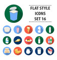 milk product and sweet set icons in flat style vector image