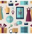 Online shopping set pattern vector image