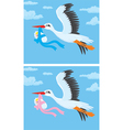 Stork with a newborn baby vector image