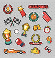 stickers sport champions with cups medals vector image