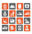 Silhouette Garbage and rubbish icons vector image