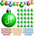 christmas balls alphabet vector image vector image