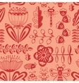 doodle decorative seamless background with flowers vector image